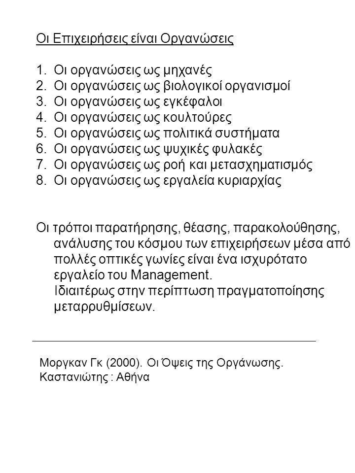 Οι Επιχειρήσεις είναι Οργανώσεις 1.Οι οργανώσεις ως μηχανές 2.Οι οργανώσεις ως βιολογικοί οργανισμοί 3.Οι οργανώσεις ως εγκέφαλοι 4.Οι οργανώσεις ως κ