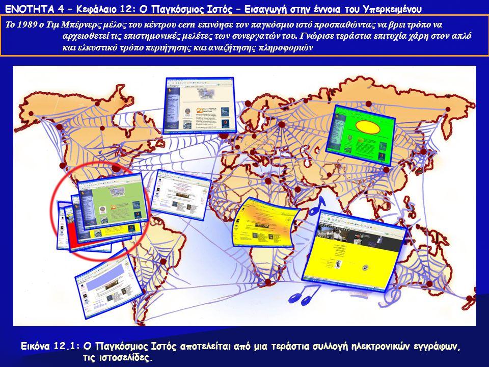 ΕΝΟΤΗΤΑ 4 – Κεφάλαιο 12: Ο Παγκόσμιος Ιστός – Εισαγωγή στην έννοια του Υπερκειμένου Το 1989 ο Τιμ Μπέρνερς μέλος του κέντρου cern επινόησε τον παγκόσμιο ιστό προσπαθώντας να βρει τρόπο να αρχειοθετεί τις επιστημονικές μελέτες των συνεργατών του.