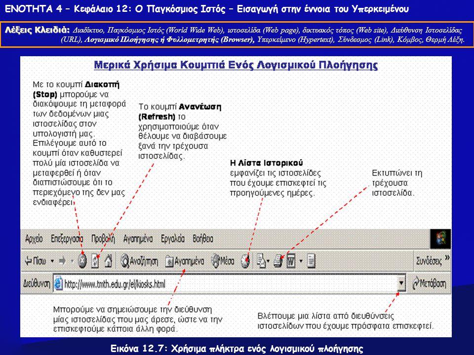 ΕΝΟΤΗΤΑ 4 – Κεφάλαιο 12: Ο Παγκόσμιος Ιστός – Εισαγωγή στην έννοια του Υπερκειμένου Λέξεις Κλειδιά: Λέξεις Κλειδιά: Διαδίκτυο, Παγκόσμιος Ιστός (World