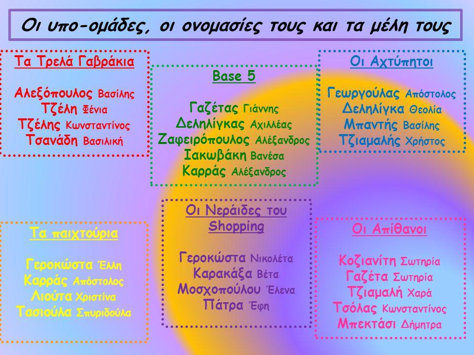 Οι υπο-ομάδες, οι ονομασίες τους και τα μέλη τους Τα Τρελά Γαβράκια Αλεξόπουλος Βασίλης Τζέλη Φένια Τζέλης Κωνσταντίνος Τσανάδη Βασιλική Base 5 Γαζέτας Γιάννης Δεληλίγκας Αχιλλέας Ζαφειρόπουλος Αλέξανδρος Ιακωβάκη Βανέσα Καρράς Αλέξανδρος Οι Αχτύπητοι Γεωργούλας Απόστολος Δεληλίγκα Θεολία Μπαντής Βασίλης Τζιαμαλής Χρήστος Οι Νεράιδες του Shopping Γεροκώστα Νικολέτα Καρακάξα Βέτα Μοσχοπούλου Έλενα Πάτρα Έφη Τα παιχτούρια Γεροκώστα Έλλη Καρράς Απόστολος Λιούτα Χριστίνα Τασιούλα Σπυριδούλα Οι Απίθανοι Κοζιανίτη Σωτηρία Γαζέτα Σωτηρία Τζιαμαλή Χαρά Τσόλας Κωνσταντίνος Μπεκτάσι Δήμητρα