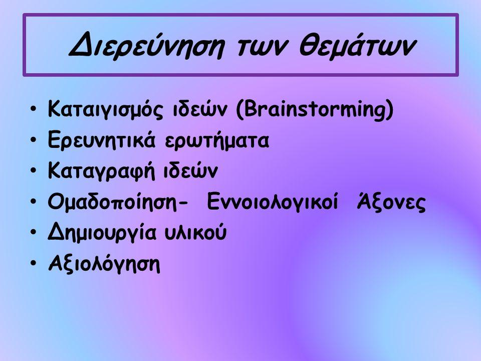 Διερεύνηση των θεμάτων Καταιγισμός ιδεών (Brainstorming) Ερευνητικά ερωτήματα Καταγραφή ιδεών Ομαδοποίηση- Εννοιολογικοί Άξονες Δημιουργία υλικού Αξιολόγηση