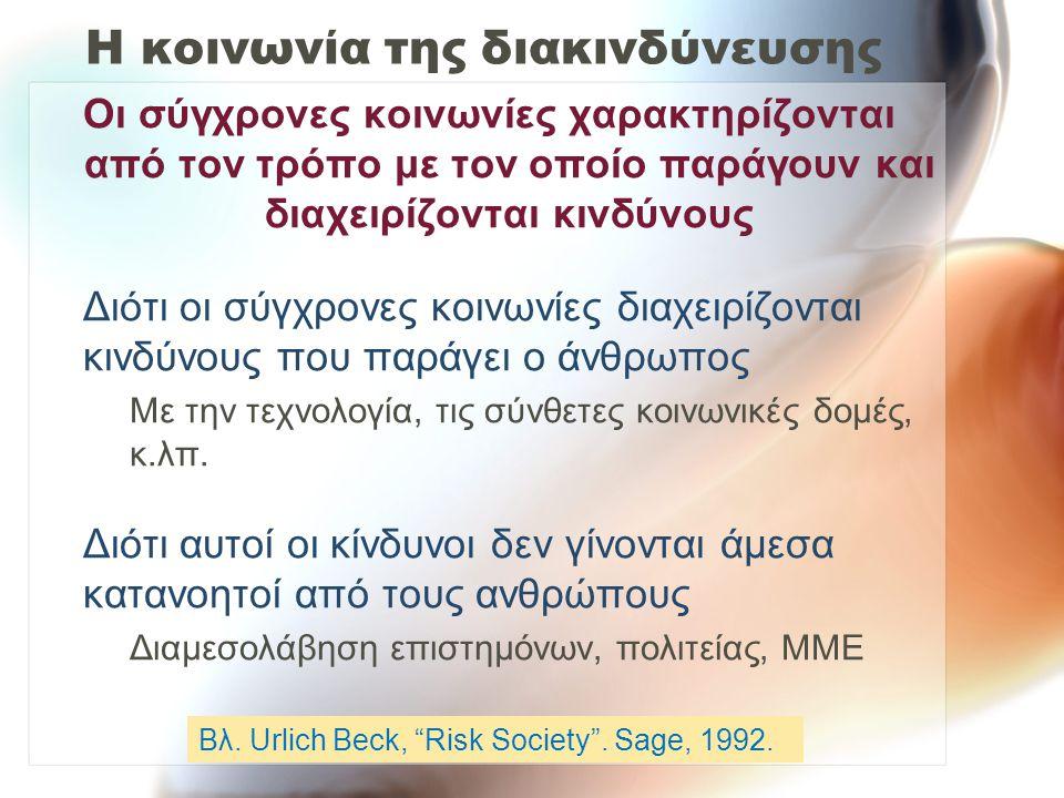Ο παράγοντας της οικειότητας Άγνωστος, μη οικείος –Δεν παρατηρείται –Δεν τον γνωρίζει αυτός που εκτίθεται –Η επίδρασή του είναι καθυστερημένη –Είναι καινούργιος κίνδυνος –Δεν είναι γνωστός στην επιστήμη Οικείος –Ορατός –Γνωστός σε αυτόν που εκτίθεται –Άμεσο αποτέλεσμα –Παλιός κίνδυνος –Γνωστός στην επιστήμη π.χ.