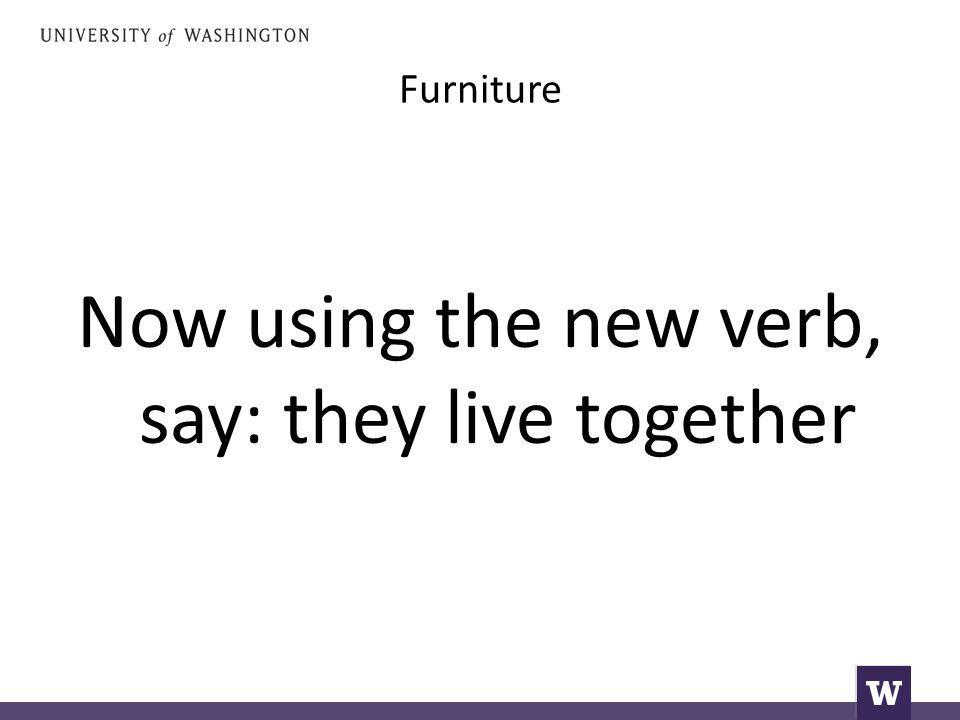 Furniture Now using the new verb, say: they live together