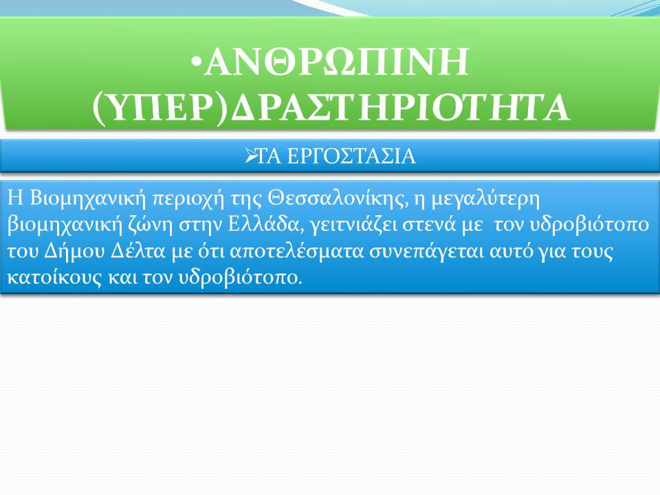  ΤΑ ΕΡΓΟΣΤΑΣΙΑ Η Βιομηχανική περιοχή της Θεσσαλονίκης, η μεγαλύτερη βιομηχανική ζώνη στην Ελλάδα, γειτνιάζει στενά με τον υδροβιότοπο του Δήμου Δέλτα με ότι αποτελέσματα συνεπάγεται αυτό για τους κατοίκους και τον υδροβιότοπο.