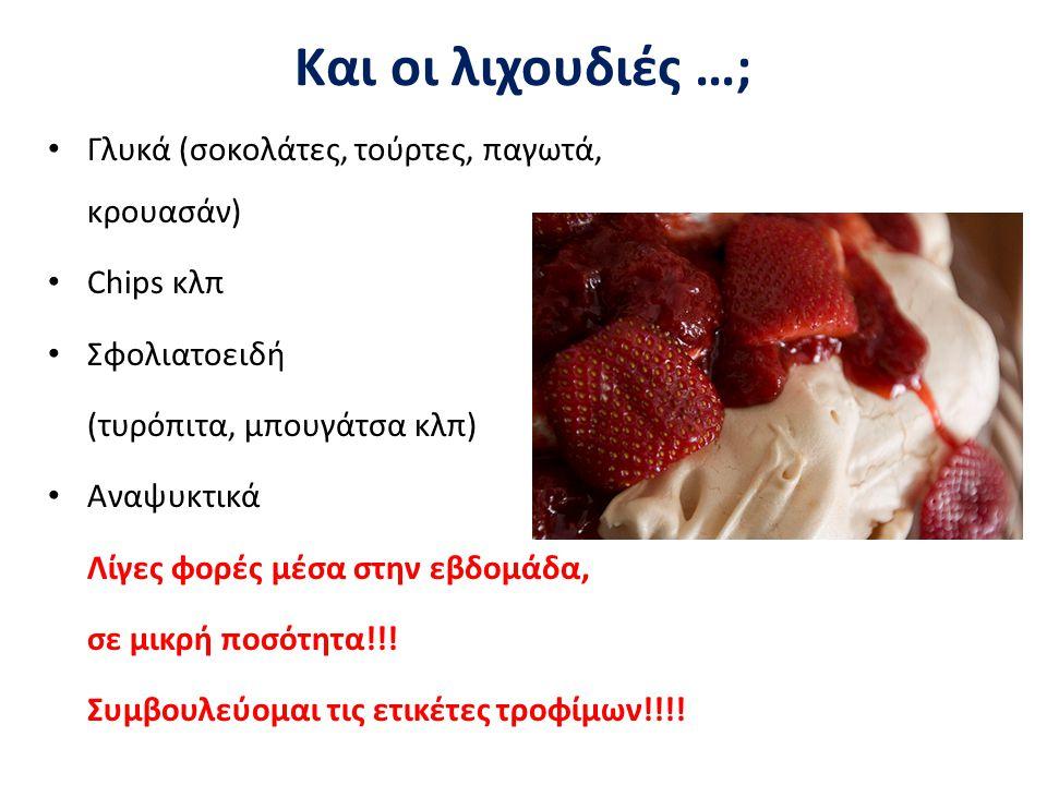 Και οι λιχουδιές …; Γλυκά (σοκολάτες, τούρτες, παγωτά, κρουασάν) Chips κλπ Σφολιατοειδή (τυρόπιτα, μπουγάτσα κλπ) Αναψυκτικά Λίγες φορές μέσα στην εβδομάδα, σε μικρή ποσότητα!!.