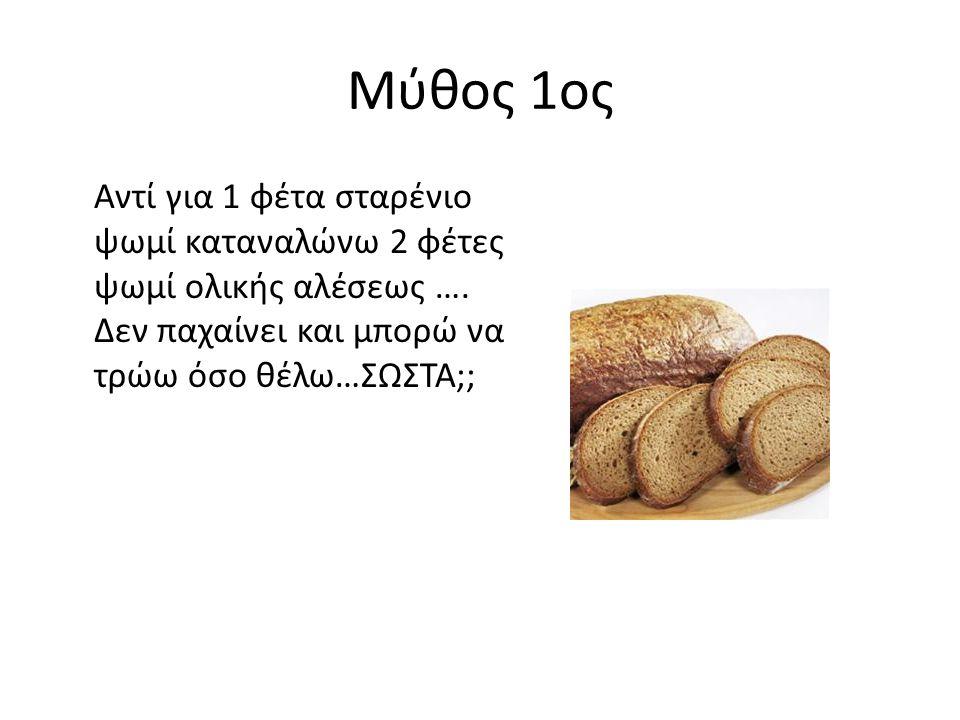 Μύθος 1ος Αντί για 1 φέτα σταρένιο ψωμί καταναλώνω 2 φέτες ψωμί ολικής αλέσεως ….