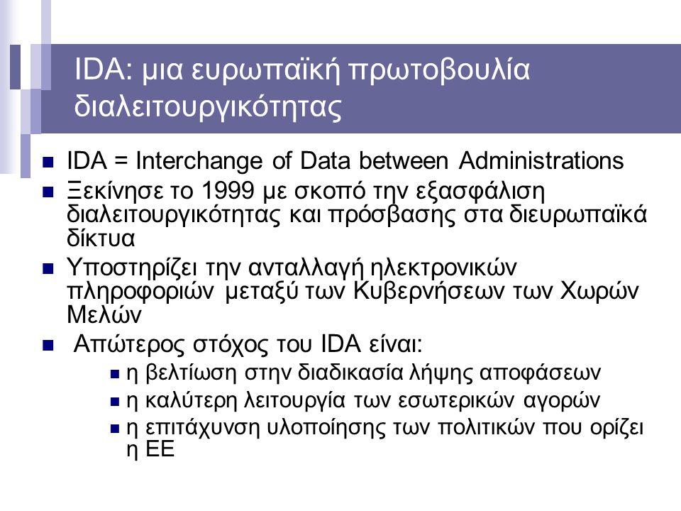 IDA: μια ευρωπαϊκή πρωτοβουλία διαλειτουργικότητας IDA = Interchange of Data between Administrations Ξεκίνησε το 1999 με σκοπό την εξασφάλιση διαλειτο