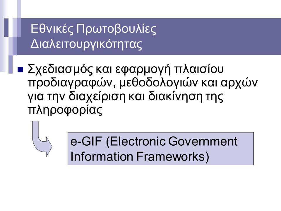 Εθνικές Πρωτοβουλίες Διαλειτουργικότητας Σχεδιασμός και εφαρμογή πλαισίου προδιαγραφών, μεθοδολογιών και αρχών για την διαχείριση και διακίνηση της πληροφορίας e-GIF (Electronic Government Information Frameworks)