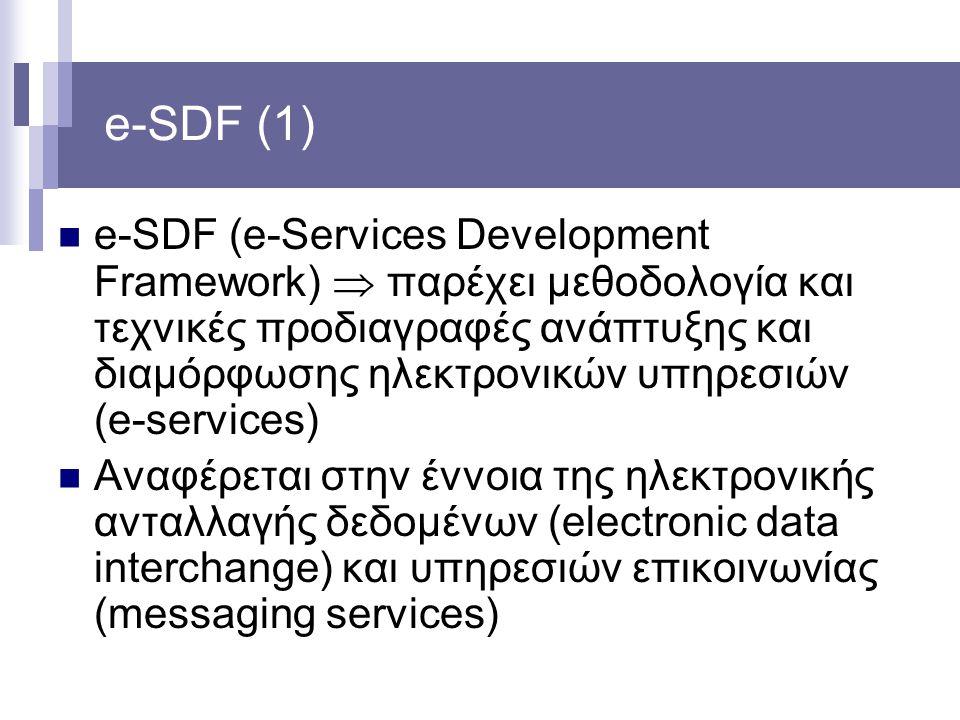 e-SDF (1) e-SDF (e-Services Development Framework)  παρέχει μεθοδολογία και τεχνικές προδιαγραφές ανάπτυξης και διαμόρφωσης ηλεκτρονικών υπηρεσιών (e