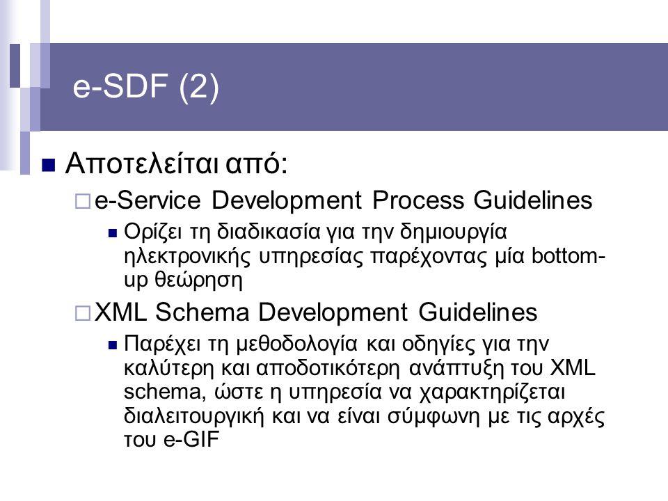 e-SDF (2) Αποτελείται από:  e-Service Development Process Guidelines Ορίζει τη διαδικασία για την δημιουργία ηλεκτρονικής υπηρεσίας παρέχοντας μία bo