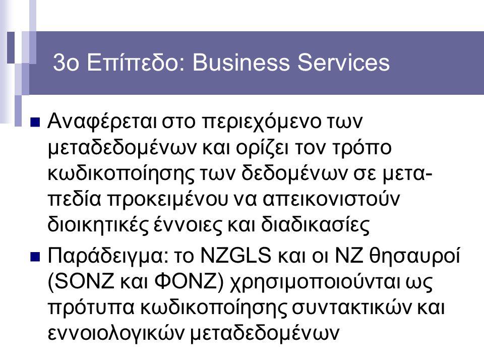3ο Επίπεδο: Business Services Αναφέρεται στο περιεχόμενο των μεταδεδομένων και ορίζει τον τρόπο κωδικοποίησης των δεδομένων σε μετα- πεδία προκειμένου να απεικονιστούν διοικητικές έννοιες και διαδικασίες Παράδειγμα: το NZGLS και οι NZ θησαυροί (SONZ και ΦΟΝΖ) χρησιμοποιούνται ως πρότυπα κωδικοποίησης συντακτικών και εννοιολογικών μεταδεδομένων