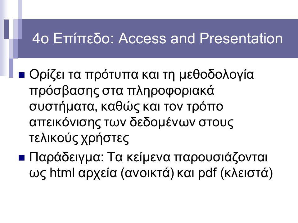 4ο Επίπεδο: Access and Presentation Ορίζει τα πρότυπα και τη μεθοδολογία πρόσβασης στα πληροφοριακά συστήματα, καθώς και τον τρόπο απεικόνισης των δεδομένων στους τελικούς χρήστες Παράδειγμα: Τα κείμενα παρουσιάζονται ως html αρχεία (ανοικτά) και pdf (κλειστά)