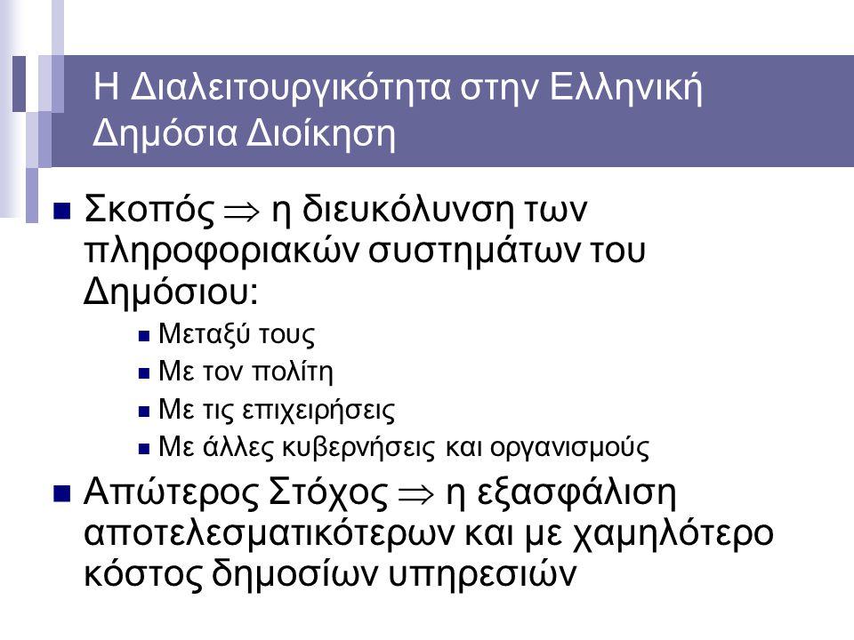 Η Διαλειτουργικότητα στην Ελληνική Δημόσια Διοίκηση Σκοπός  η διευκόλυνση των πληροφοριακών συστημάτων του Δημόσιου: Μεταξύ τους Με τον πολίτη Με τις επιχειρήσεις Με άλλες κυβερνήσεις και οργανισμούς Απώτερος Στόχος  η εξασφάλιση αποτελεσματικότερων και με χαμηλότερο κόστος δημοσίων υπηρεσιών
