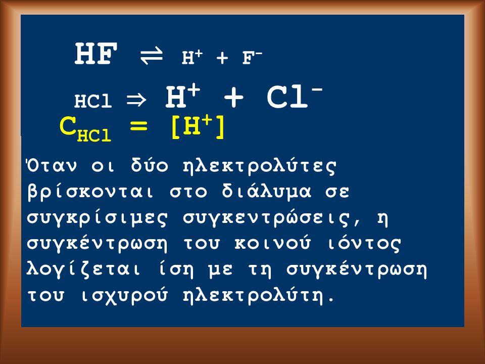 HF ⇌ H + + F - HCl ⇒ H + + Cl - Όταν οι δύο ηλεκτρολύτες βρίσκονται στο διάλυμα σε συγκρίσιμες συγκεντρώσεις, η συγκέντρωση του κοινού ιόντος λογίζεται ίση με τη συγκέντρωση του ισχυρού ηλεκτρολύτη.