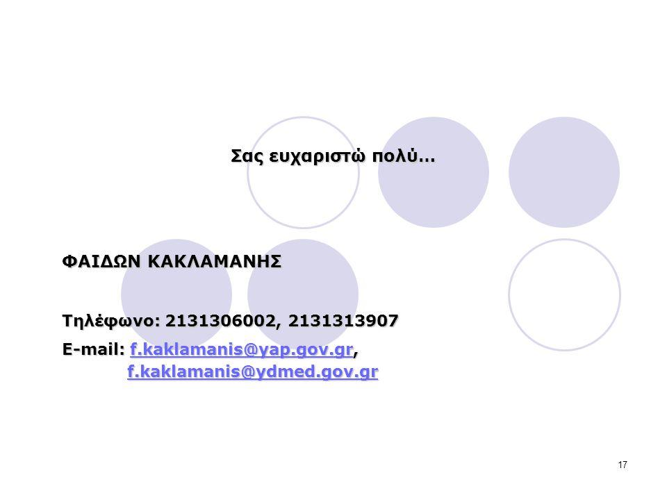 17 Σας ευχαριστώ πολύ… ΦΑΙΔΩΝ ΚΑΚΛΑΜΑΝΗΣ Τηλέφωνο: 2131306002, 2131313907 E-mail: f.kaklamanis@yap.gov.gr, f.kaklamanis@ydmed.gov.gr f.kaklamanis@yap.gov.gr f.kaklamanis@ydmed.gov.grf.kaklamanis@yap.gov.gr f.kaklamanis@ydmed.gov.gr