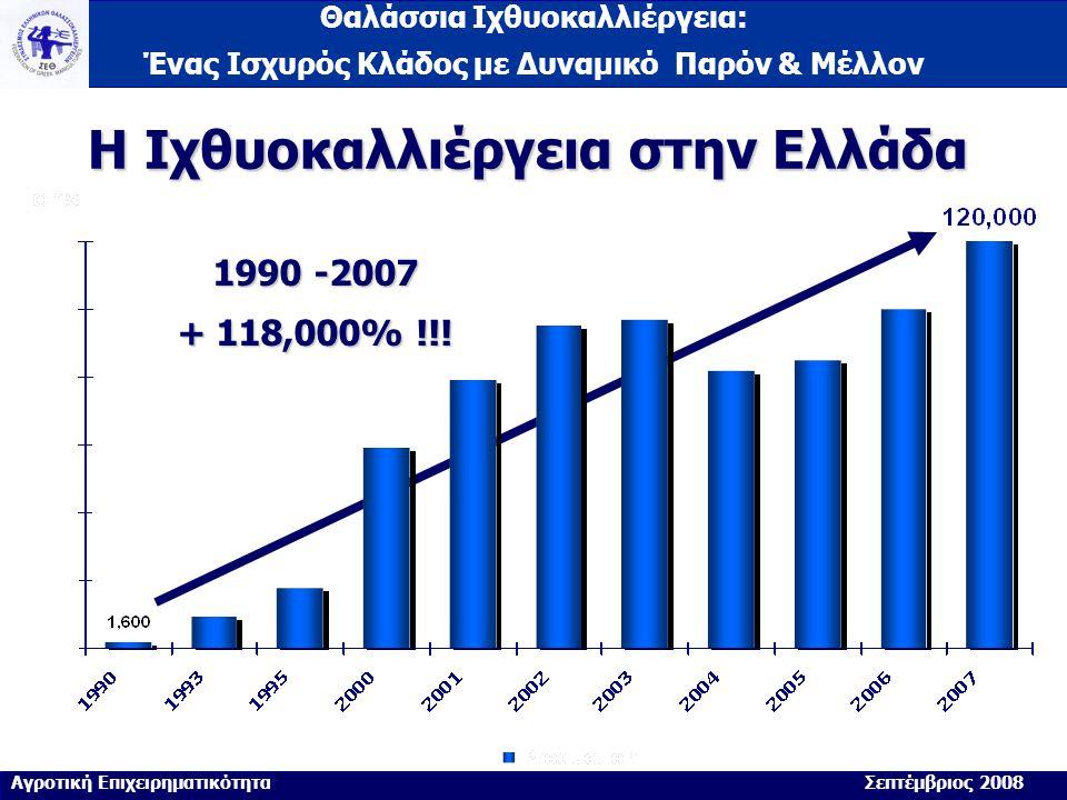 Θαλάσσια Ιχθυοκαλλιέργεια: Ένας Ισχυρός Κλάδος με Δυναμικό Παρόν & Μέλλον Η Ιχθυοκαλλιέργεια στην Ελλάδα 1990 -2007 + 118,000% !!! Αγροτική Επιχειρημα