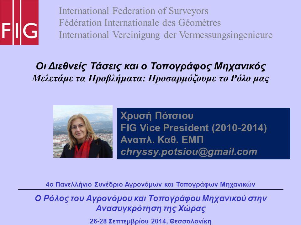 Εθνικό Μετσόβιο Πολυτεχνείο FIG Commission 3 (2007-2010) FIG Vice President (2011-2014) UN ECE Working Party on Land Administration Bureau member (2001-2015)
