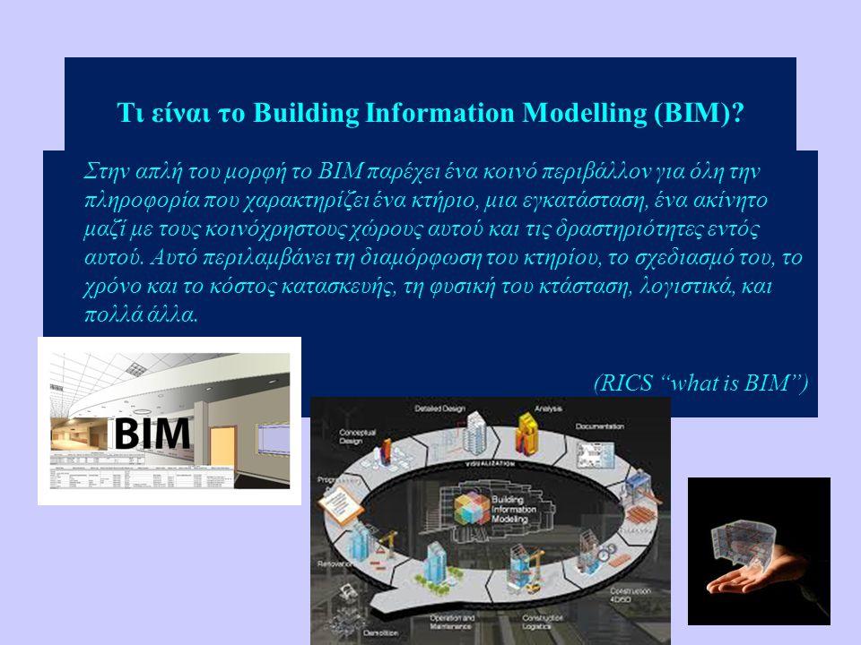 Τι είναι το Building Information Modelling (BIM)? Στην απλή του μορφή το ΒΙΜ παρέχει ένα κοινό περιβάλλον για όλη την πληροφορία που χαρακτηρίζει ένα