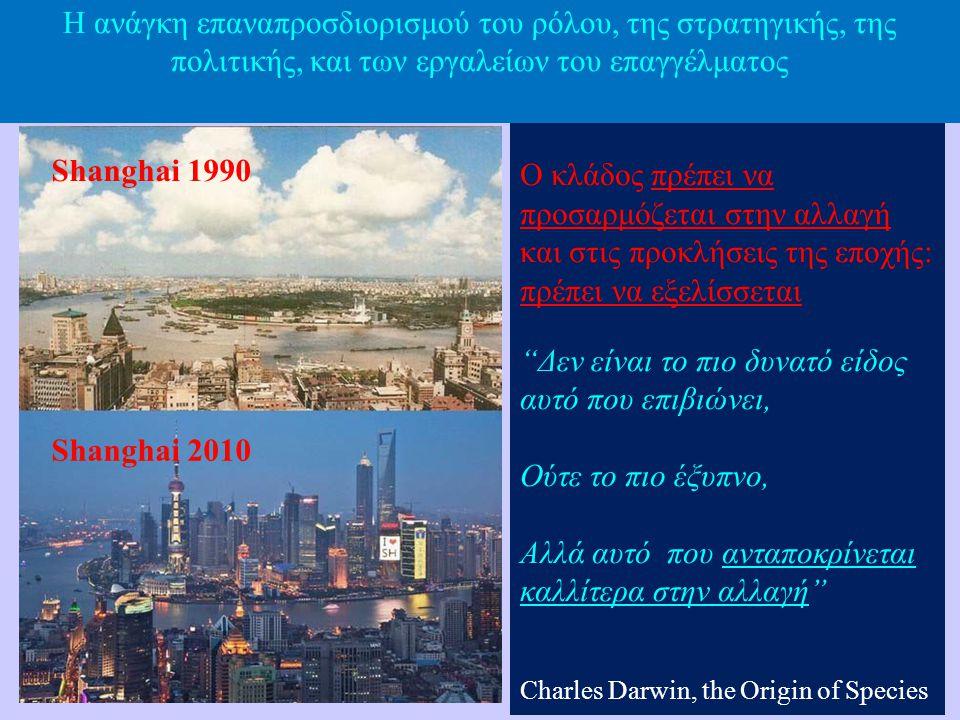 "Shanghai 1990 Shanghai 2010 Ο κλάδος πρέπει να προσαρμόζεται στην αλλαγή και στις προκλήσεις της εποχής: πρέπει να εξελίσσεται ""Δεν είναι το πιο δυνατ"