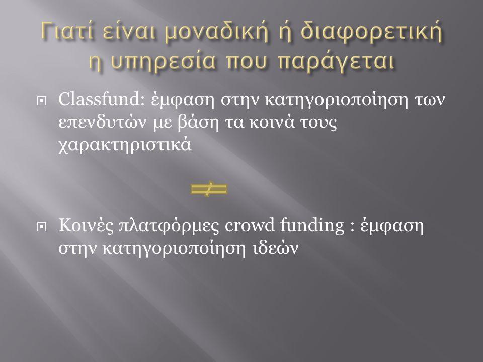 Classfund: έμφαση στην κατηγοριοποίηση των επενδυτών με βάση τα κοινά τους χαρακτηριστικά  Κοινές πλατφόρμες crowd funding : έμφαση στην κατηγοριοπ