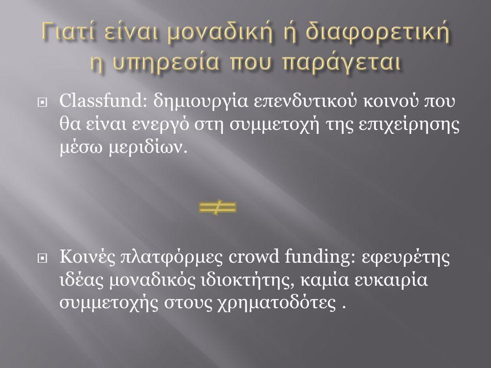  Classfund: δημιουργία επενδυτικού κοινού που θα είναι ενεργό στη συμμετοχή της επιχείρησης μέσω μεριδίων.  Κοινές πλατφόρμες crowd funding: εφευρέτ