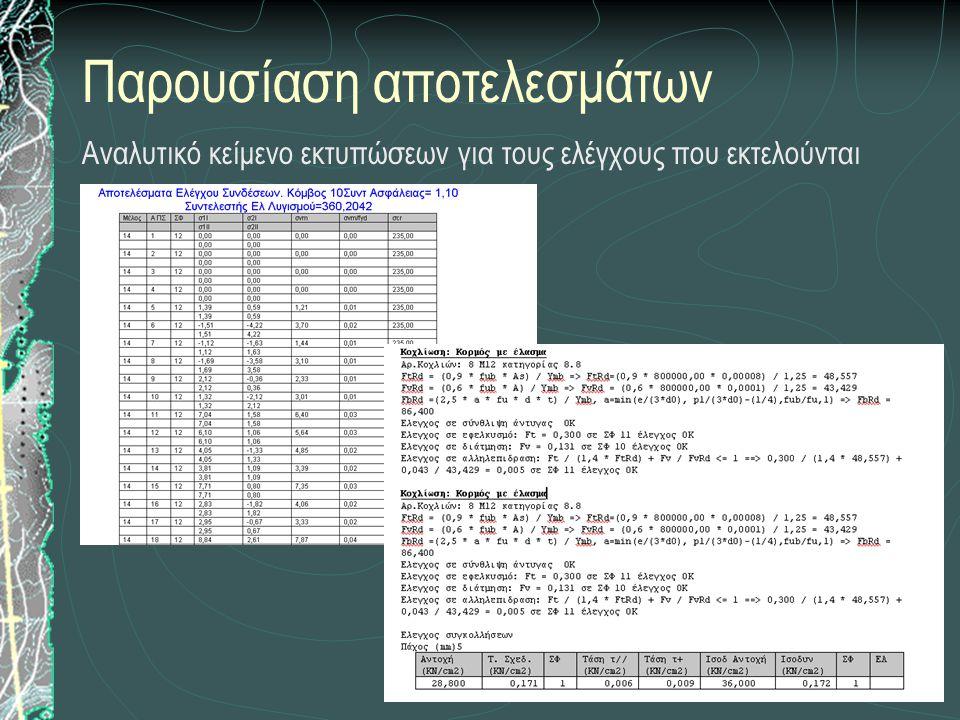 Παρουσίαση αποτελεσμάτων Αναλυτικό κείμενο εκτυπώσεων για τους ελέγχους που εκτελούνται