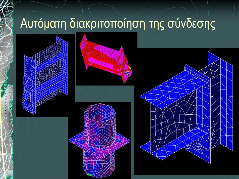 Επίλυση του φορέα με ραβδωτά και επιφανειακά πεπερασμένα στοιχεία Προσομοίωση σύνδεσης Έλασμα  Τριγωνικά ή τετραπλευρικά επιφανειακά στοιχεία κελύφους Κοχλίας  Στοιχείο δοκού στο χώρο, το οποίο συνδέει ανάντη κόμβους ελασμάτων Συγκόλληση  Στοιχεία δοκού στο χώρο, τα οποία συνδέουν τους κοινούς κόμβους των ελασμάτων που συγκολλούνται Ελάσματα που ανήκουν στο ίδιο μέλος  Στοιχεία κελύφους που συνδέονται μεταξύ τους μέσω κοινών κόμβων Ελάσματα σε επαφή  Στοιχεία κελύφους που συνδέονται μεταξύ τους με μη γραμμικά ελατήρια