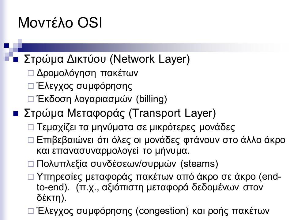 Μοντέλο OSI Στρώμα Δικτύου (Network Layer)  Δρομολόγηση πακέτων  Έλεγχος συμφόρησης  Έκδοση λογαριασμών (billing) Στρώμα Μεταφοράς (Transport Layer