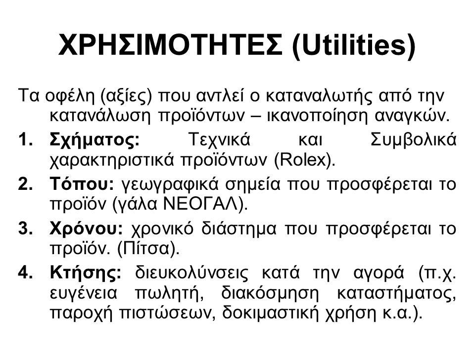 ΧΡΗΣΙΜΟΤΗΤΕΣ (Utilities) Τα οφέλη (αξίες) που αντλεί ο καταναλωτής από την κατανάλωση προϊόντων – ικανοποίηση αναγκών. 1.Σχήματος: Τεχνικά και Συμβολι