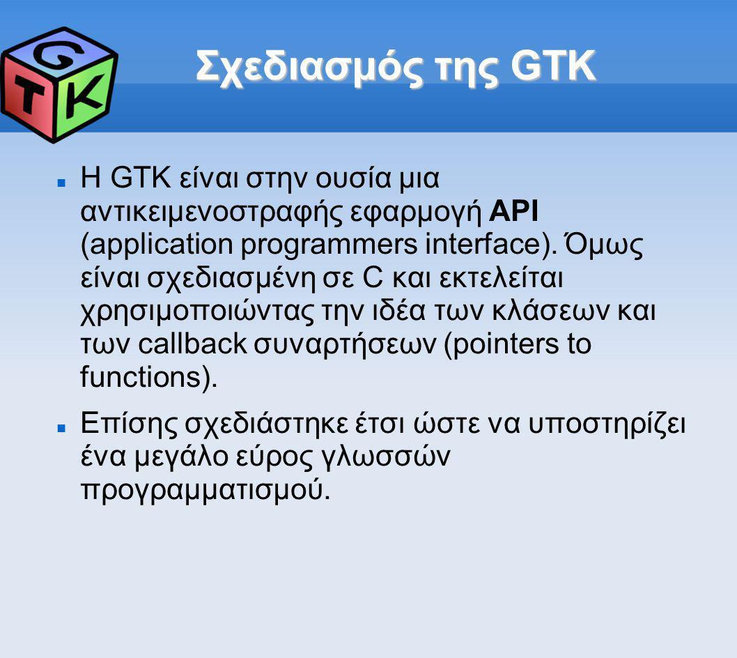 Σχεδιασμός της GTK Η GTK είναι στην ουσία μια αντικειμενοστραφής εφαρμογή API (application programmers interface). Όμως είναι σχεδιασμένη σε C και εκτ