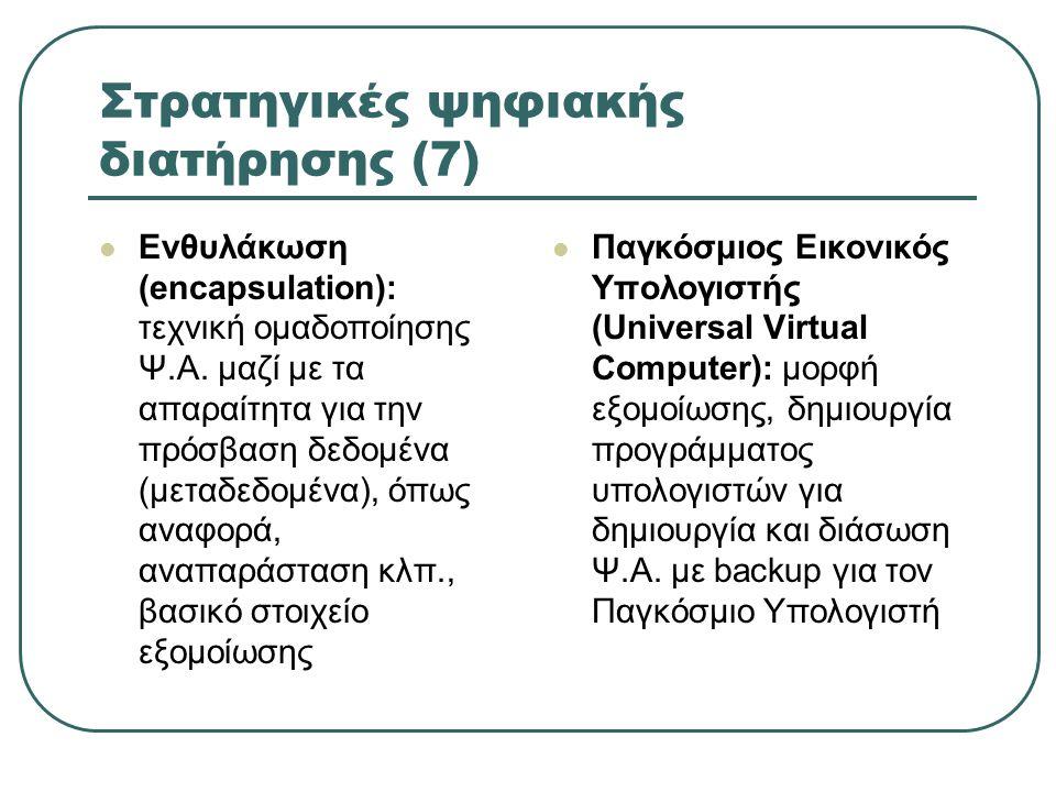 Στρατηγικές ψηφιακής διατήρησης (7) Ενθυλάκωση (encapsulation): τεχνική ομαδοποίησης Ψ.Α.