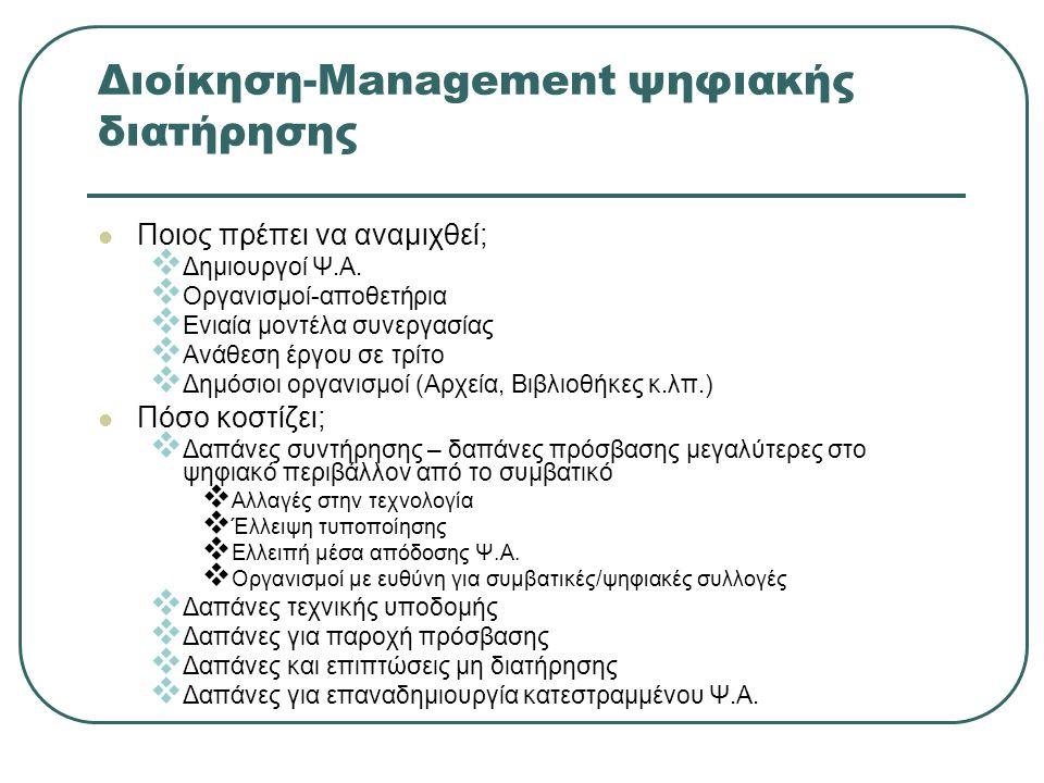 Διοίκηση-Management ψηφιακής διατήρησης Ποιος πρέπει να αναμιχθεί;  Δημιουργοί Ψ.Α.