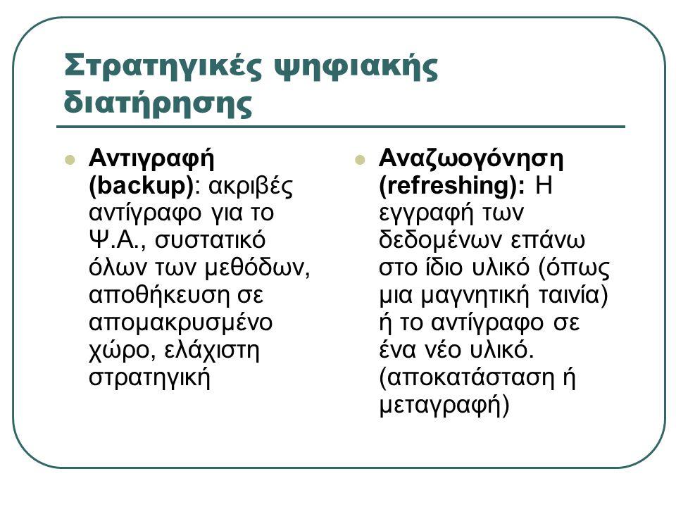 Στρατηγικές ψηφιακής διατήρησης (2) Ανθεκτικά μέσα: μείωση απωλειών από αποσύνθεση, ΔΕΝ προστατεύουν από φυσικές καταστροφές και απαρχαίωση, ψευδής αίσθηση ασφάλειας Συντήρηση της τεχνολογίας, δηλ.