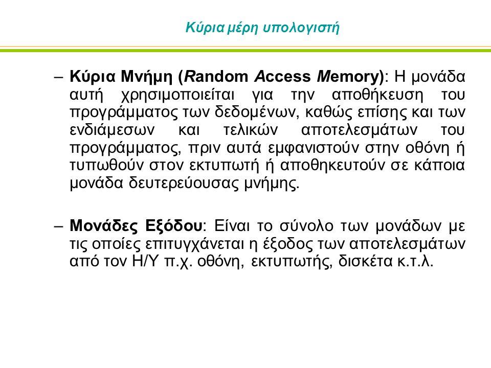 Κύρια μέρη υπολογιστή –Κύρια Μνήμη (Random Access Memory): Η μονάδα αυτή χρησιμοποιείται για την αποθήκευση του προγράμματος των δεδομένων, καθώς επίσης και των ενδιάμεσων και τελικών αποτελεσμάτων του προγράμματος, πριν αυτά εμφανιστούν στην οθόνη ή τυπωθούν στον εκτυπωτή ή αποθηκευτούν σε κάποια μονάδα δευτερεύουσας μνήμης.