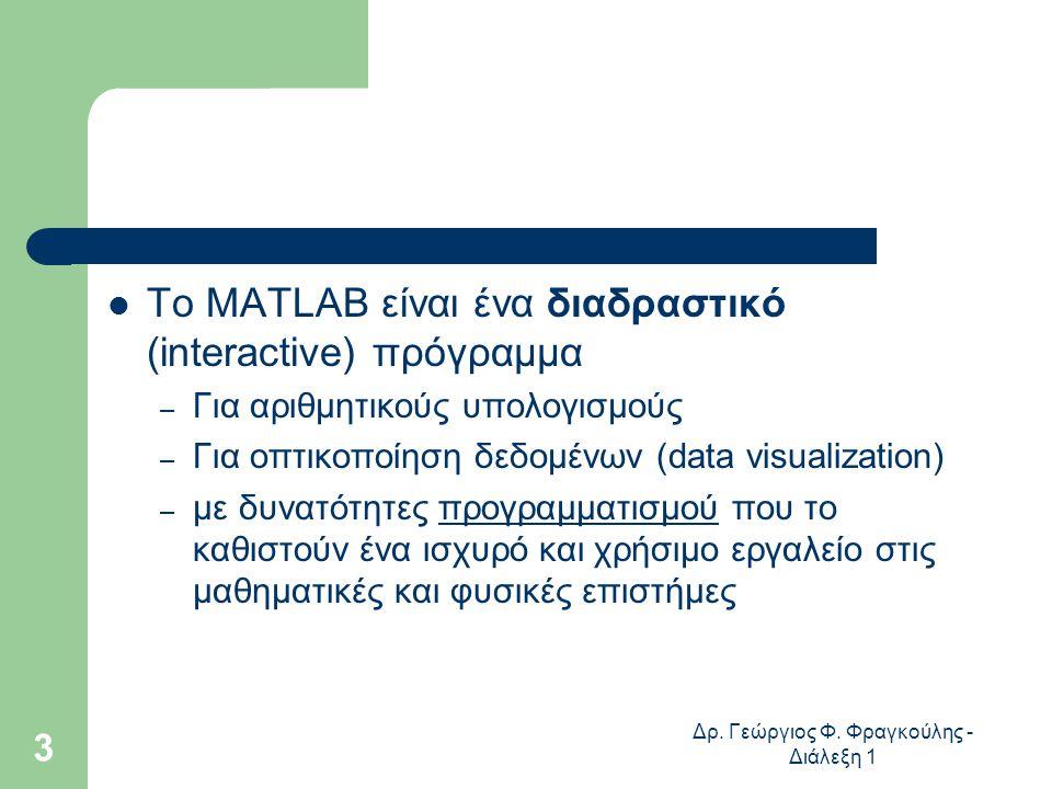 Δρ. Γεώργιος Φ. Φραγκούλης - Διάλεξη 1 3 Το MATLAB είναι ένα διαδραστικό (interactive) πρόγραμμα – Για αριθμητικούς υπολογισμούς – Για οπτικοποίηση δε
