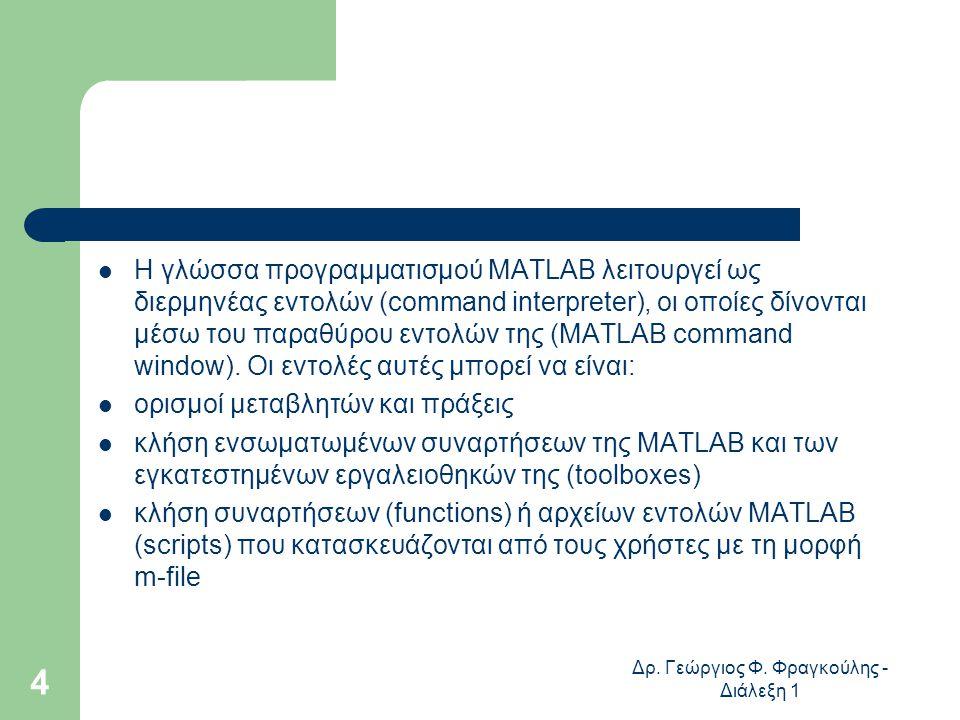 Δρ. Γεώργιος Φ. Φραγκούλης - Διάλεξη 1 4 Η γλώσσα προγραµµατισµού MATLAB λειτουργεί ως διερµηνέας εντολών (command interpreter), οι οποίες δίνονται µέ