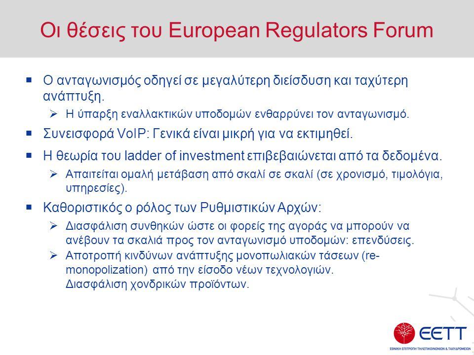 Οι θέσεις του European Regulators Forum  Ο ανταγωνισμός οδηγεί σε μεγαλύτερη διείσδυση και ταχύτερη ανάπτυξη.