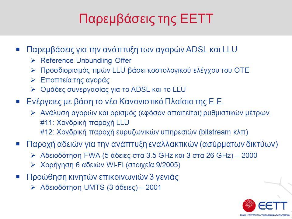 Παρεμβάσεις της ΕΕΤΤ  Παρεμβάσεις για την ανάπτυξη των αγορών ADSL και LLU  Reference Unbundling Offer  Προσδιορισμός τιμών LLU βάσει κοστολογικού ελέγχου του ΟΤΕ  Εποπτεία της αγοράς  Ομάδες συνεργασίας για το ADSL και το LLU  Ενέργειες με βάση το νέο Κανονιστικό Πλαίσιο της Ε.Ε.
