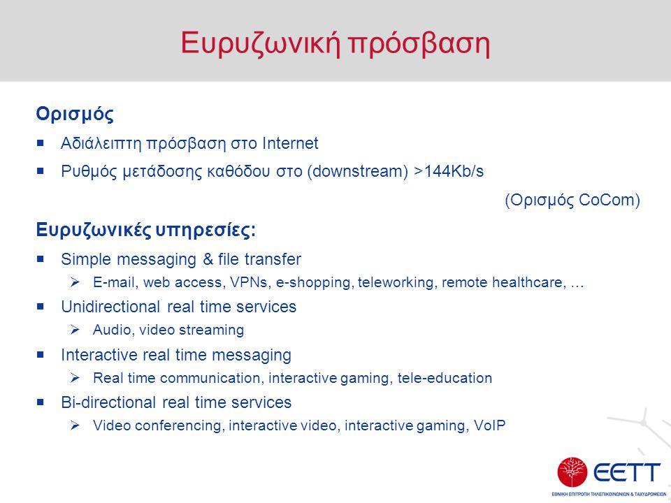 Ευρυζωνική πρόσβαση Ορισμός  Αδιάλειπτη πρόσβαση στο Internet  Ρυθμός μετάδοσης καθόδου στο (downstream) >144Κb/s (Ορισμός CoCom) Ευρυζωνικές υπηρεσίες:  Simple messaging & file transfer  E-mail, web access, VPNs, e-shopping, teleworking, remote healthcare, …  Unidirectional real time services  Audio, video streaming  Interactive real time messaging  Real time communication, interactive gaming, tele-education  Bi-directional real time services  Video conferencing, interactive video, interactive gaming, VoIP