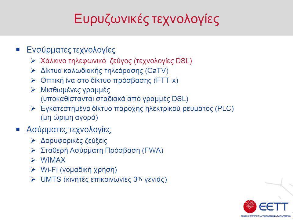 Ευρυζωνικές τεχνολογίες  Ενσύρματες τεχνολογίες  Χάλκινο τηλεφωνικό ζεύγος (τεχνολογίες DSL)  Δίκτυα καλωδιακής τηλεόρασης (CaTV)  Οπτική ίνα στο δίκτυο πρόσβασης (FTT-x)  Μισθωμένες γραμμές (υποκαθίστανται σταδιακά από γραμμές DSL)  Εγκατεστημένο δίκτυο παροχής ηλεκτρικού ρεύματος (PLC) (μη ώριμη αγορά)  Ασύρματες τεχνολογίες  Δορυφορικές ζεύξεις  Σταθερή Ασύρματη Πρόσβαση (FWA)  WIMAX  Wi-Fi (νομαδική χρήση)  UMTS (κινητές επικοινωνίες 3 ης γενιάς)