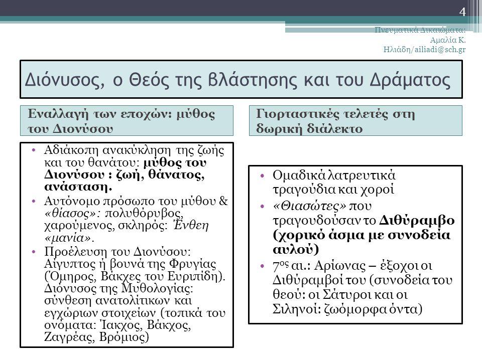 Ιστορικό και πολιτικό πλαίσιο της αρχαίας ελληνικής δραματικής ποίησης Εμφάνιση δράματος: μέσα 6 ου αι. Ρίζες του: μέσα 5 ου αι. (χρυσός αιώνας): εκδή