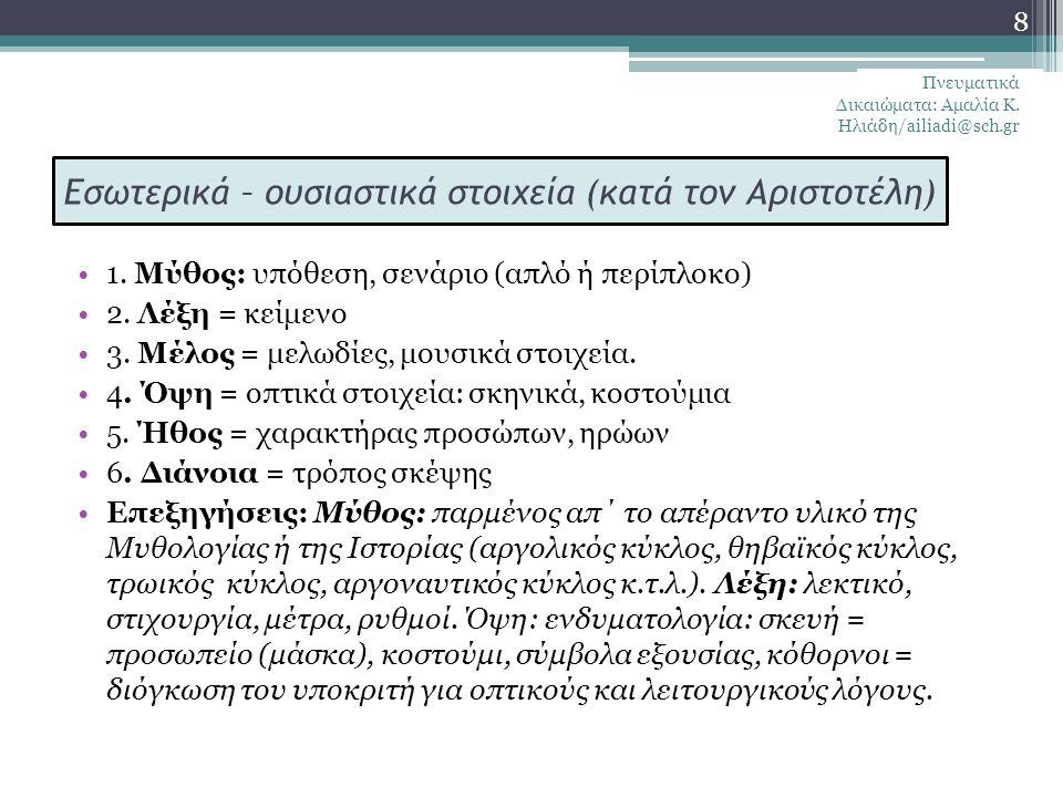 Μέρη του Δράματος (Αριστοτέλης) Μέρη του Δράματος (Αριστοτέλης): 1) Πρόλογος ( μονόλογος ή διάλογος μεταξύ «υποκριτών») 2) πάροδος του χορού (τραγούδι