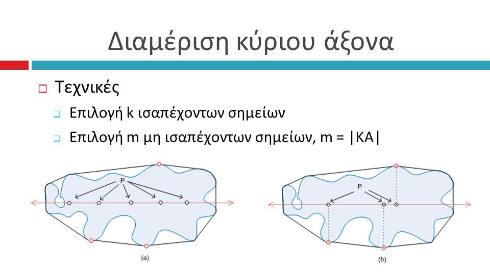Διαμέριση κύριου άξονα  Τεχνικές  Επιλογή k ισαπέχοντων σημείων  Επιλογή m μη ισαπέχοντων σημείων, m = |KA|