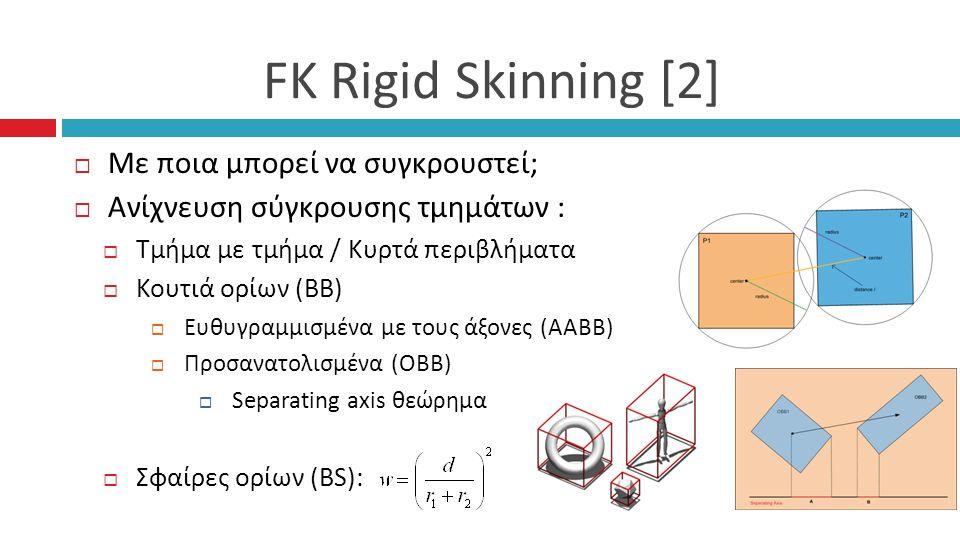 FK Rigid Skinning [2]  Με ποια μπορεί να συγκρουστεί;  Ανίχνευση σύγκρουσης τμημάτων :  Τμήμα με τμήμα / Κυρτά περιβλήματα  Κουτιά ορίων (BB)  Ευθυγραμμισμένα με τους άξονες (ΑΑΒΒ)  Προσανατολισμένα (ΟΒΒ)  Separating axis θεώρημα  Σφαίρες ορίων (BS):