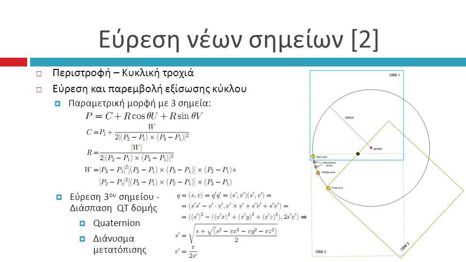Εύρεση νέων σημείων [2]  Περιστροφή – Κυκλική τροχιά  Εύρεση και παρεμβολή εξίσωσης κύκλου  Παραμετρική μορφή με 3 σημεία :  Εύρεση 3 ου σημείου - Διάσπαση QT δομής  Quaternion  Διάνυσμα μετατόπισης