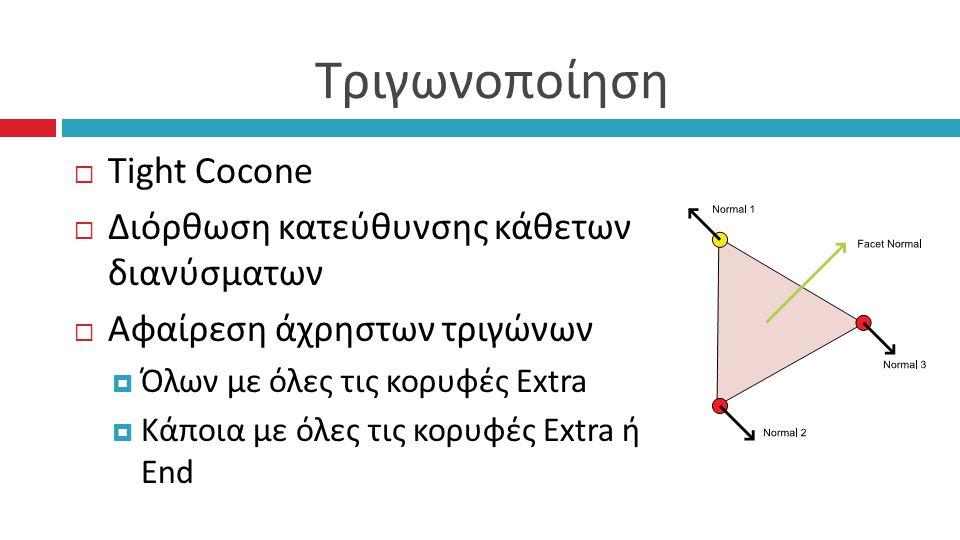 Τριγωνοποίηση  Tight Cocone  Διόρθωση κατεύθυνσης κάθετων διανύσματων  Αφαίρεση άχρηστων τριγώνων  Όλων με όλες τις κορυφές Extra  Κάποια με όλες τις κορυφές Extra ή End
