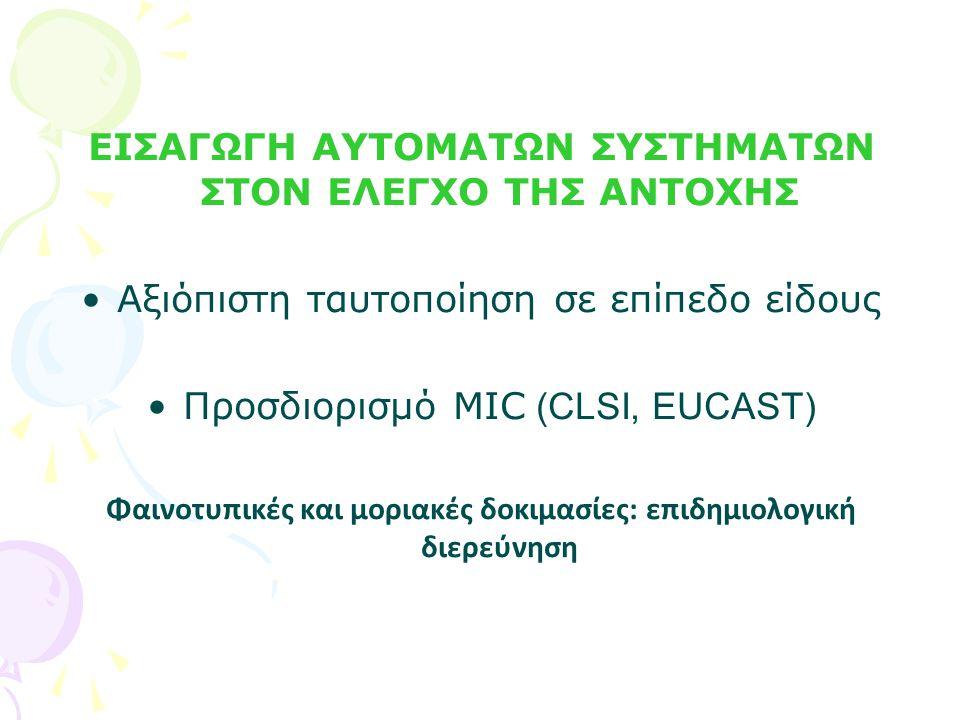 ΕΙΣΑΓΩΓΗ ΑΥΤΟΜΑΤΩΝ ΣΥΣΤΗΜΑΤΩΝ ΣΤΟΝ ΕΛΕΓΧΟ ΤΗΣ ΑΝΤΟΧΗΣ Αξιόπιστη ταυτοποίηση σε επίπεδο είδους Προσδιορισμό MIC (CLSI, EUCAST) Φαινοτυπικές και μοριακές δοκιμασίες: επιδημιολογική διερεύνηση