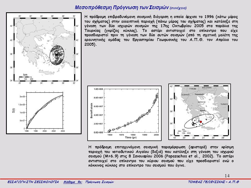 14 Μεσοπρόθεσμη Πρόγνωση των Σεισμών (συνέχεια) ΕΙΣΑΓΩΓΗ ΣΤΗ ΣΕΙΣΜΟΛΟΓΙΑ Μάθημα 9ο: Πρόγνωση Σεισμών ΤΟΜΕΑΣ ΓΕΩΦΥΣΙΚΗΣ – Α.Π.Θ Η πρόδρομη επιβραδυνόμενη σεισμική διέγερση η οποία άρχισε το 1996 (κάτω μέρος του σχήματος) στην ελλειπτική περιοχή (πάνω μέρος του σχήματος) και κατέληξε στη γένεση των δύο ισχυρών σεισμών της 17ης Οκτωβρίου 2005 στα παράλια της Τουρκίας (γκρίζος κύκλος).