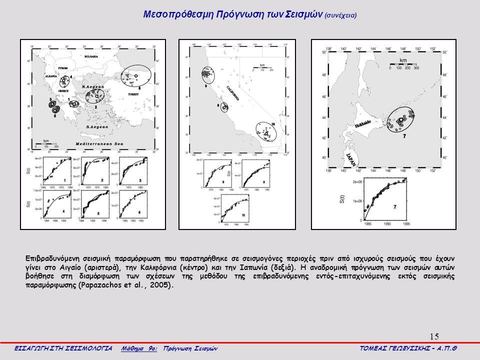 15 Μεσοπρόθεσμη Πρόγνωση των Σεισμών (συνέχεια) ΕΙΣΑΓΩΓΗ ΣΤΗ ΣΕΙΣΜΟΛΟΓΙΑ Μάθημα 9ο: Πρόγνωση Σεισμών ΤΟΜΕΑΣ ΓΕΩΦΥΣΙΚΗΣ – Α.Π.Θ Επιβραδυνόμενη σεισμική παραμόρφωση που παρατηρήθηκε σε σεισμογόνες περιοχές πριν από ισχυρούς σεισμούς που έχουν γίνει στο Αιγαίο (αριστερά), την Καλιφόρνια (κέντρο) και την Ιαπωνία (δεξιά).