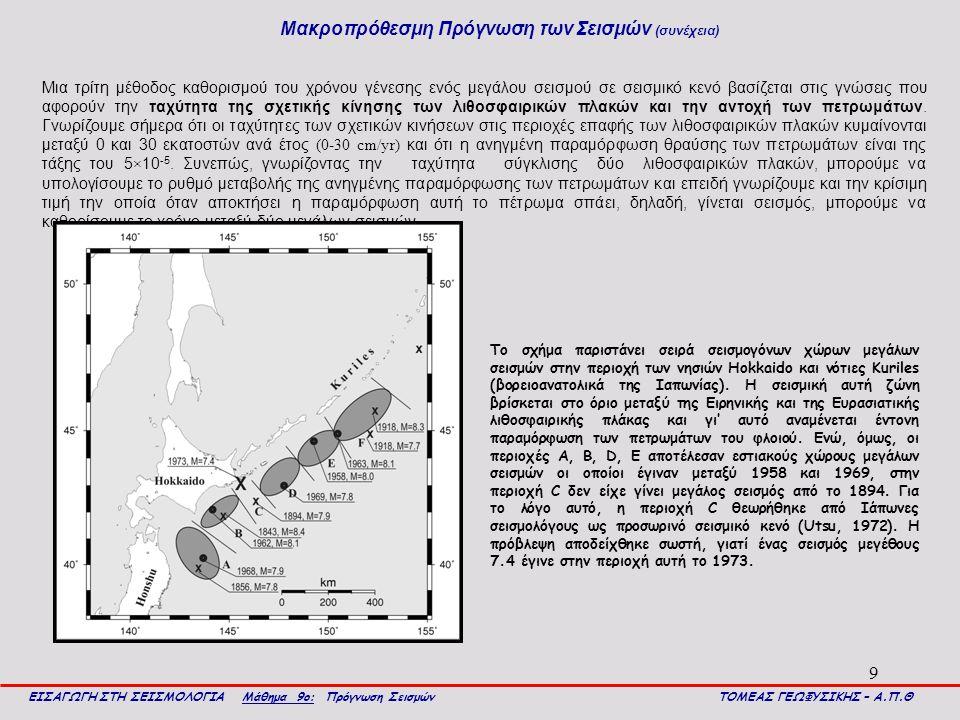 9 Μακροπρόθεσμη Πρόγνωση των Σεισμών (συνέχεια) ΕΙΣΑΓΩΓΗ ΣΤΗ ΣΕΙΣΜΟΛΟΓΙΑ Μάθημα 9ο: Πρόγνωση Σεισμών ΤΟΜΕΑΣ ΓΕΩΦΥΣΙΚΗΣ – Α.Π.Θ Μια τρίτη μέθοδος καθορισμού του χρόνου γένεσης ενός μεγάλου σεισμού σε σεισμικό κενό βασίζεται στις γνώσεις που αφορούν την ταχύτητα της σχετικής κίνησης των λιθοσφαιρικών πλακών και την αντοχή των πετρωμάτων.